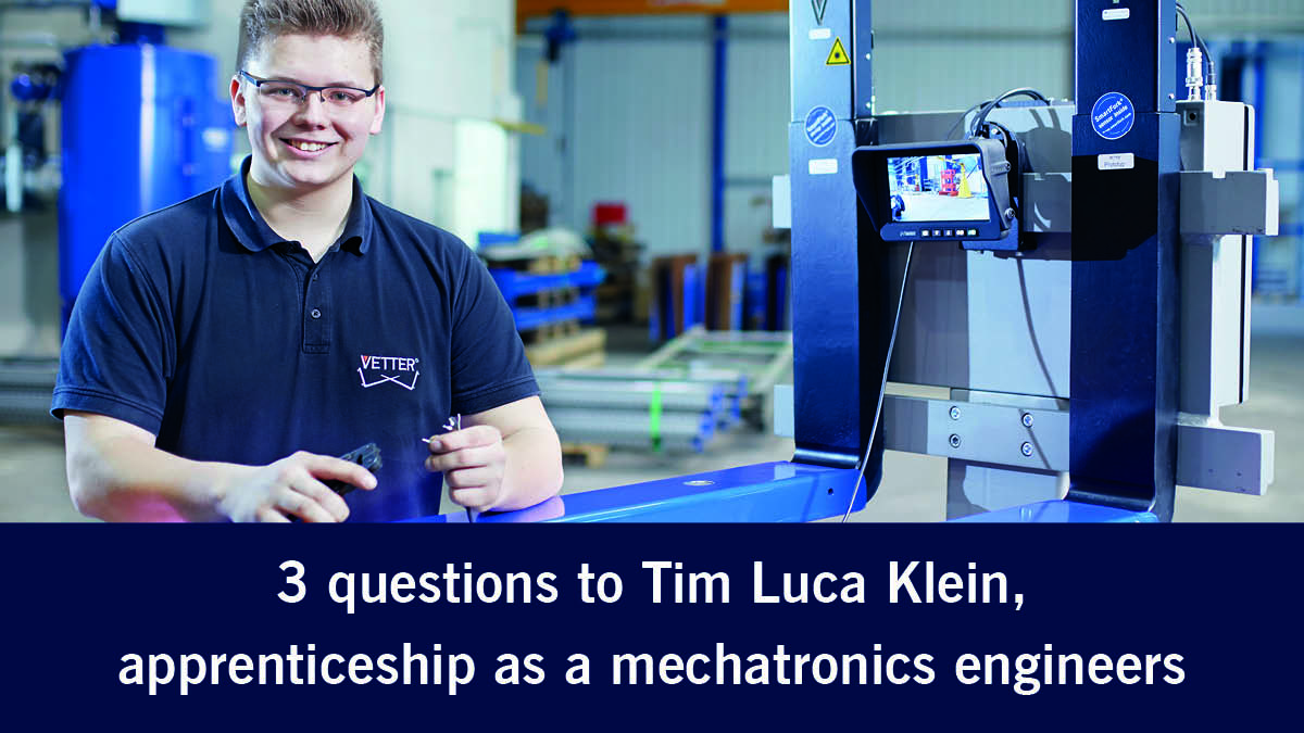 3 questions to Tim Luca Klein, apprenticeship to mechatronics engineer